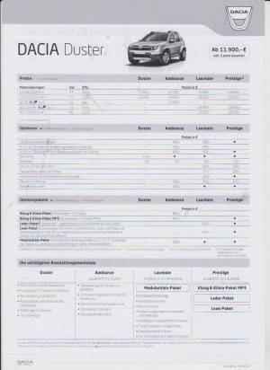 dacia duster preisliste 2010 histoquariat. Black Bedroom Furniture Sets. Home Design Ideas